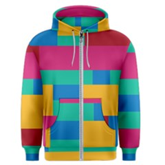 Rainbow Color Blocks Men s Zipper Hoodie