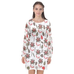 Zappwaits Flowers Long Sleeve Chiffon Shift Dress  by zappwaits