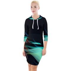 Flower 3d Colorm Design Background Quarter Sleeve Hood Bodycon Dress
