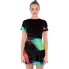 Flower 3d Colorm Design Background Drop Hem Mini Chiffon Dress