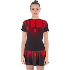 Light Neon City Buildings Sky Red Drop Hem Mini Chiffon Dress