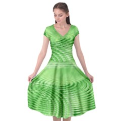 Wave Concentric Circle Green Cap Sleeve Wrap Front Dress by HermanTelo