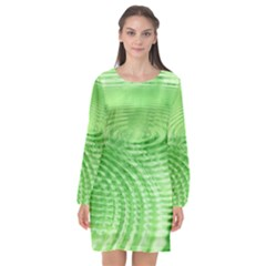 Wave Concentric Circle Green Long Sleeve Chiffon Shift Dress