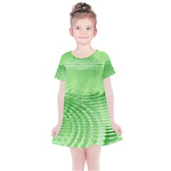 Wave Concentric Circle Green Kids  Simple Cotton Dress