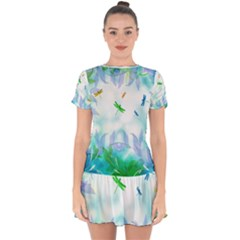 Scrapbooking Tropical Pattern Drop Hem Mini Chiffon Dress by HermanTelo