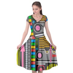 Pattern Geometric Abstract Colorful Arrows Lines Circles Triangles Cap Sleeve Wrap Front Dress