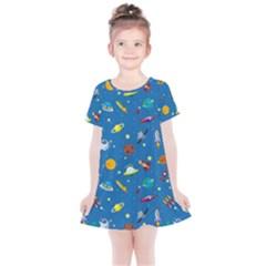 Space Rocket Solar System Pattern Kids  Simple Cotton Dress