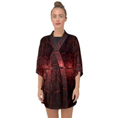 Fractal Spiral Depth Light Red Swirling Lines Half Sleeve Chiffon Kimono by Vaneshart
