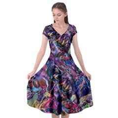 Multicolored Abstract Painting Cap Sleeve Wrap Front Dress by Vaneshart