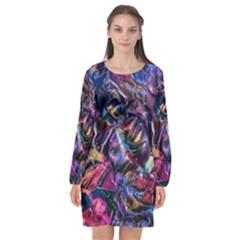 Multicolored Abstract Painting Long Sleeve Chiffon Shift Dress