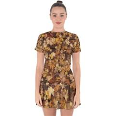 Late October Leaves 3 Drop Hem Mini Chiffon Dress