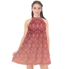 Red Gold Art Decor Halter Neckline Chiffon Dress