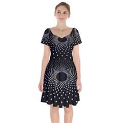 Abstract Black Blue Bright Circle Short Sleeve Bardot Dress