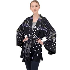 Abstract Black Blue Bright Circle Long Sleeve Velvet Kimono  by HermanTelo