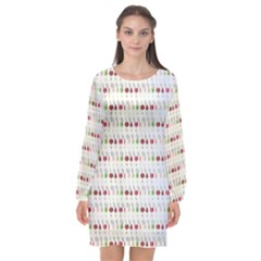 Wine Glass Pattern Long Sleeve Chiffon Shift Dress