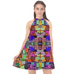Abstract-a-4 Halter Neckline Chiffon Dress  by ArtworkByPatrick