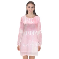 Paris, London, New York Long Sleeve Chiffon Shift Dress  by Lullaby