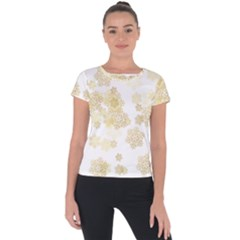 Christmas Gold Stars Snow Flakes  Short Sleeve Sports Top  by Lullaby