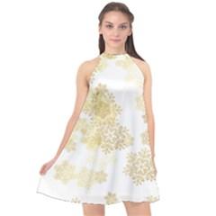 Christmas Gold Stars Snow Flakes  Halter Neckline Chiffon Dress  by Lullaby
