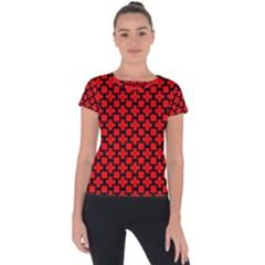 Pattern Red Black Texture Cross Short Sleeve Sports Top  by Simbadda
