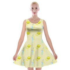 Lemonade Polkadots Velvet Skater Dress by bloomingvinedesign
