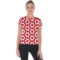 Pattern Red White Texture Seamless Short Sleeve Sports Top  by Simbadda