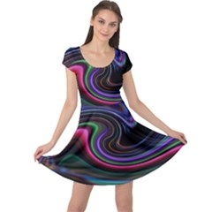 Art Abstract Colorful Abstract Art Cap Sleeve Dress