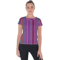 Stripes Wallpaper Texture Short Sleeve Sports Top