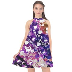 Paint Texture Purple Watercolor Halter Neckline Chiffon Dress  by Simbadda