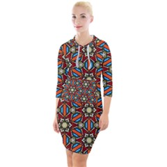 Pattern Stained Glass Church Quarter Sleeve Hood Bodycon Dress by Simbadda