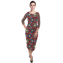 Pattern Stained Glass Church Quarter Sleeve Midi Velour Bodycon Dress by Simbadda
