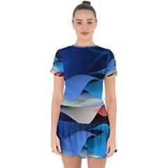 Flower Background Blue Design Drop Hem Mini Chiffon Dress