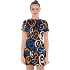Colorful Curves Pattern Drop Hem Mini Chiffon Dress by Vaneshart