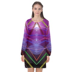 Disco Laser Rays Dance Long Sleeve Chiffon Shift Dress
