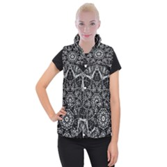 Black And White Pattern Monochrome Lighting Circle Neon Psychedelic Illustration Design Symmetry Women s Button Up Vest by Vaneshart