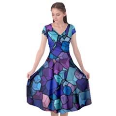 Geometric Pattern Cap Sleeve Wrap Front Dress by Vaneshart