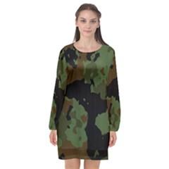 Beautiful Army Camo Pattern Long Sleeve Chiffon Shift Dress  by Vaneshart