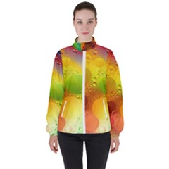 Abstract Sunlight Flower Reflection Color Macro Floating Yellow Circle Macro Photography Spheres Oil Women s High Neck Windbreaker by Vaneshart