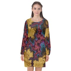 Creative Abstract Structure Texture Flower Pattern Black Material Textile Art Colors Design  Long Sleeve Chiffon Shift Dress  by Vaneshart
