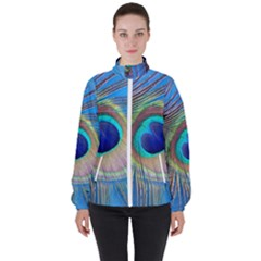 Nature Bird Wing Texture Animal Male Wildlife Decoration Pattern Line Green Color Blue Colorful Women s High Neck Windbreaker by Vaneshart