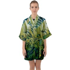 Laptop Computer Technology Leaf Line Green Biology Communication Electronics Illustration Informatio Half Sleeve Satin Kimono