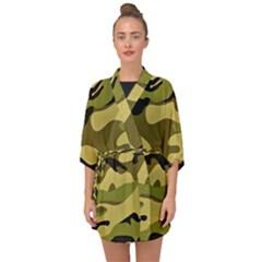 Fabric Army Camo Pattern Half Sleeve Chiffon Kimono by Vaneshart
