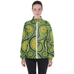 Texture Leaf Pattern Line Green Color Colorful Yellow Circle Ornament Font Art Illustration Design  Women s High Neck Windbreaker by Vaneshart