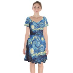 Starry Night Short Sleeve Bardot Dress