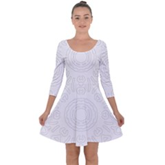 Circle Vector Background Abstract Quarter Sleeve Skater Dress by Bajindul