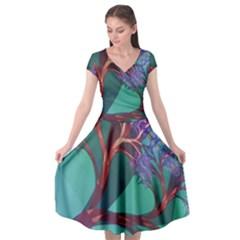 Art Fractal Artwork Creative Cap Sleeve Wrap Front Dress by Wegoenart