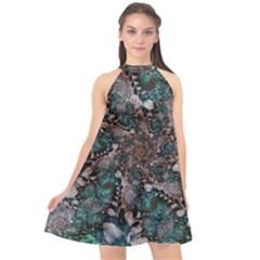 Art Artwork Fractal Digital Halter Neckline Chiffon Dress  by Wegoenart