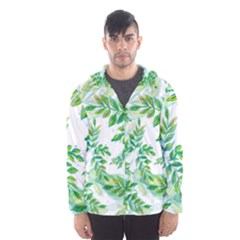Leaves Green Pattern Nature Plant Men s Hooded Windbreaker
