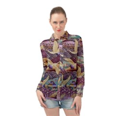 Textile Fabric Cloth Pattern Long Sleeve Chiffon Shirt by Wegoenart