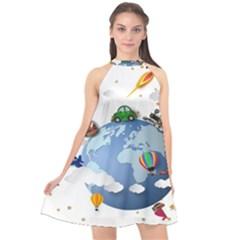 Earth Rocket Vector Earth Halter Neckline Chiffon Dress